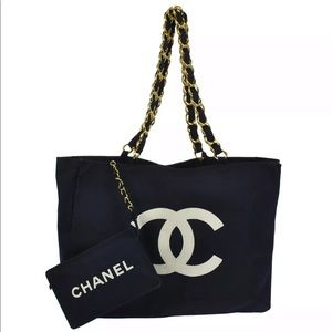 ❤️CHANEL CANVAS TOTE AND POUCH